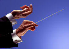 Orchesterleiterhände Stockfoto