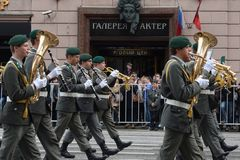 Orchestra of Austria on parade of participants of international festival of military orchestras Stock Photography