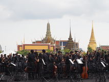 Orchestra band in front of emple of the Emerald Buddha Royalty Free Stock Photo