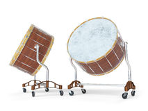 Orchestra Big drum on white 3D rendering Royalty Free Stock Photography
