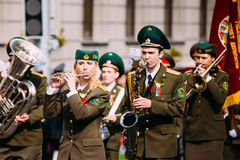 Orchestra of the Border Troops participating in. Gomel, Belarus - May 9, 2015: Orchestra of the Border Troops participating in the parade dedicated to the Stock Image