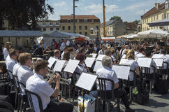 Orchestra in the center of Valkenburg. Royalty Free Stock Photography