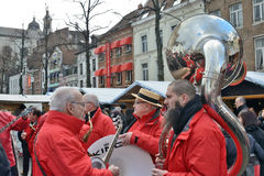 Orchestra on Christmas Market in Brussels Royalty Free Stock Photo