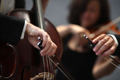 Orchestra of classical music with violin Royalty Free Stock Images