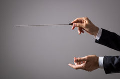 Orchestra conductor hands stock photography
