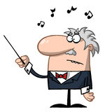 Orchestra Conductor Holds Baton. Cartoon Orchestra Conductor Holds a Baton royalty free illustration