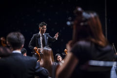 Orchestra Conductor. A conductor leading an orchestra Stock Image