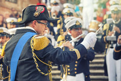 Orchestra conductor in military uniform with musical band in the Spanish Steps in Rome, Italy Stock Photography