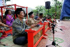 Orchestra di Gamelan, Indonesia immagine stock
