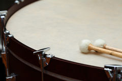 Orchestra drum. Timpany, orchestra drum with sticks royalty free stock photos