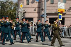 Orchestra оf Belorussia on parade of participants of international festival of military orchestras Stock Image