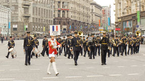 Orchestra of France on parade in Moscow Stock Photography