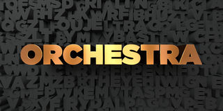 Orchestra - Gold text on black background - 3D rendered royalty free stock picture Royalty Free Stock Photos