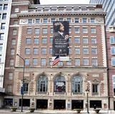 Orchestra Hall. This is a Winter picture of the Theodore Thomas Orchestra Hall located in Chicago, Illinois.  The building was designed by Daniel Burnham and Stock Photo