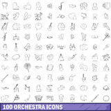 100 orchestra icons set, outline style Stock Photo