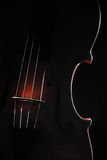 Orchestra instruments violin. Musical instrument silhouette on black Royalty Free Stock Photography