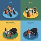 Orchestra Isometric 2x2 Concept. Orchestra playing various music rock n roll chanson folk and jazz isometric 2x2 concept isolated on colorful backgrounds 3d Stock Photos