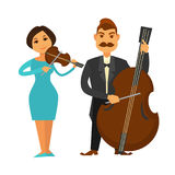 Orchestra members with violin and violoncello isolated illustration Stock Photo