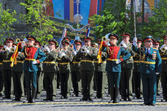 Orchestra. MOSCOW, RUSSIA - MAY 09, 2014: Celebration of the 69th anniversary of the Victory Day (WWII). Solemn passage of military hardware on Red Square. A Stock Image