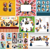 Orchestra music player card Royalty Free Stock Image