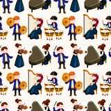 Orchestra music player seamless pattern. Vector,illustration Stock Photos