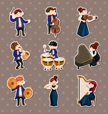 Orchestra music player stickers. Cartoon vector illustration Stock Photography