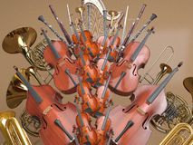 Orchestra musical instruments 3D rendering Royalty Free Stock Photo