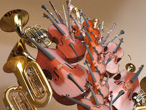 Orchestra musical instruments 3D rendering Royalty Free Stock Images