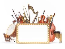 Orchestra musical instruments 3D rendering. Orchestra musical instruments white. High quality 3d render Royalty Free Stock Photos