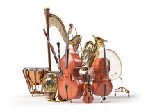 Orchestra musical instruments isolated on white Stock Images