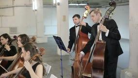 orchestra Musicista che gioca violino sul corridoio della sinfonia stock footage