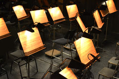Orchestra. Note stands - great for topics like classical music, , band, concert hall etc Royalty Free Stock Photos