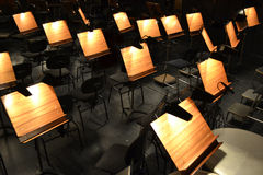 Orchestra. Note stands - great for topics like classical music, , band, concert hall etc Royalty Free Stock Photo