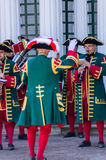 Orchestra in old dress in Peterhof, Russia Stock Photo