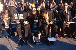 An orchestra outside the Cathedral Santa Eulalia. Royalty Free Stock Photography