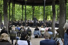 Orchestra Performing At A Outdoor Concert Royalty Free Stock Image