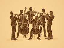 Orchestra. Player design using brown grunge brush graphic vector Royalty Free Stock Image