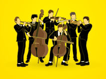 Orchestra. Player design using brown grunge brush graphic vector Royalty Free Stock Photography
