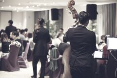 Orchestra playing in restaurant