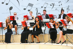 Orchestra plays in the Gorky park in Moscow. Stock Photography