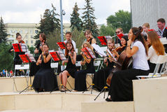 Orchestra plays in the Gorky park in Moscow. Stock Image