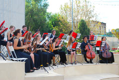 Orchestra plays in the Gorky park in Moscow. Royalty Free Stock Photo