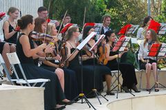 Orchestra plays in the Gorky park in Moscow. Royalty Free Stock Photos