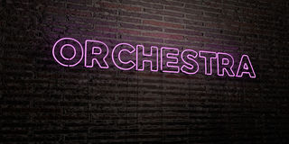 ORCHESTRA -Realistic Neon Sign on Brick Wall background - 3D rendered royalty free stock image. Can be used for online banner ads and direct mailers Stock Illustration