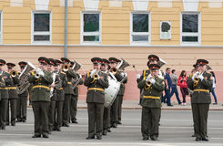 Orchestra is at rehearsal of Military Parade Stock Image