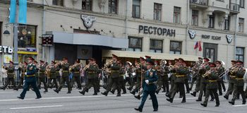 Orchestra from Russia on parade of participants of international festival of military orchestras Royalty Free Stock Photo