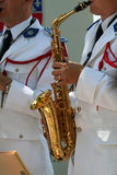 Orchestra saxophone. Player Royalty Free Stock Photos