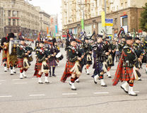 Orchestra of Scotland on parade in Moscow Stock Images