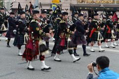 Orchestra Scotland on parade of participants of international festival of military orchestras Stock Images