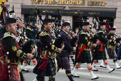 Orchestra Scotland on parade of participants of international festival of military orchestras Stock Image